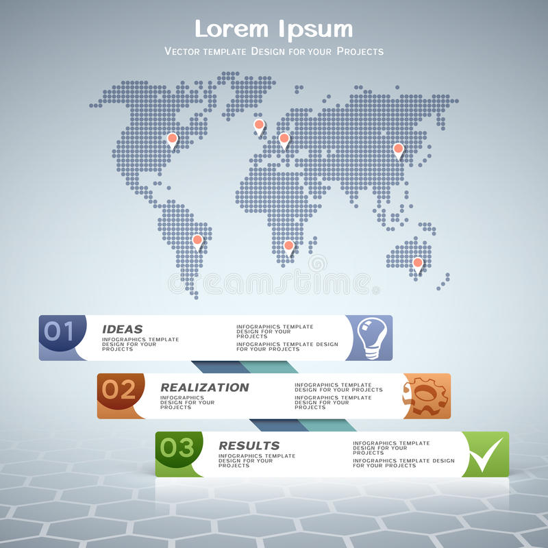 Geschäftsinformationgraphikdesign mit punktierter Weltkarte lizenzfreie abbildung