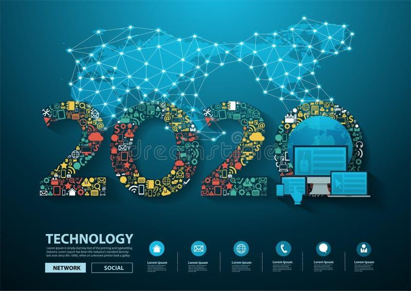 2020 Geschäftsinnovationstechnologiesatz-Anwendungsikonen des neuen Jahres lizenzfreie abbildung