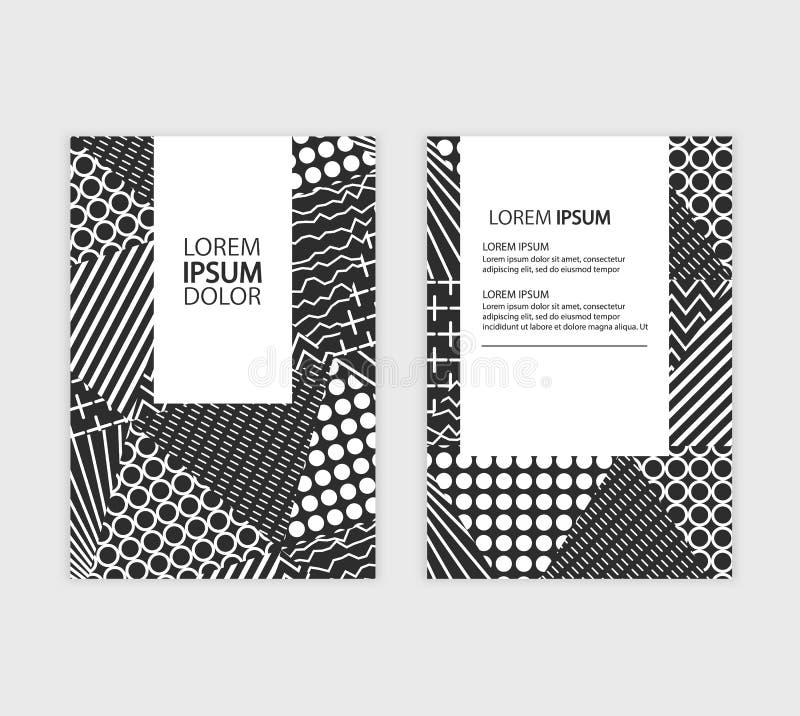 Geschäftsjahresberichtbroschüren-Fliegerdesign Broschürenabdeckungsdarstellung Katalog mit abstraktem geometrischem Hintergrund stock abbildung