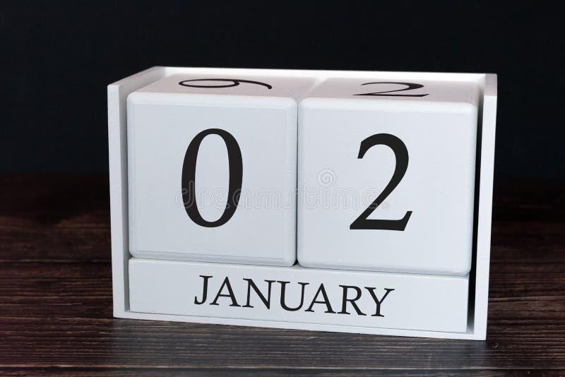 Geschäftskalender für Januar, 2. Tag des Monats Planerorganisatordatum oder Ereigniszeitplankonzept stock abbildung