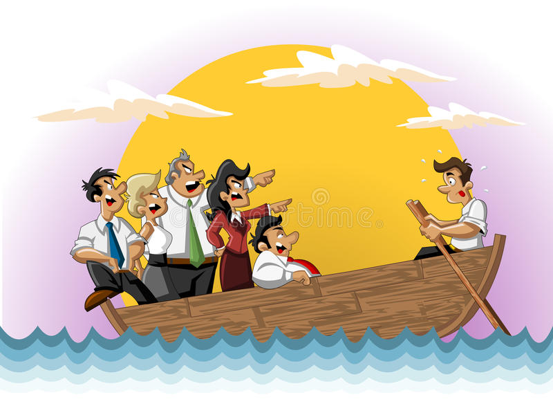 Geschäftskarikaturteam auf Boot