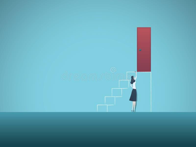 Geschäftskarriereherausforderung und Gelegenheitsvektorkonzept mit zeichnenden Schritten der Geschäftsfrau zur Tür auf der Wand S lizenzfreie abbildung