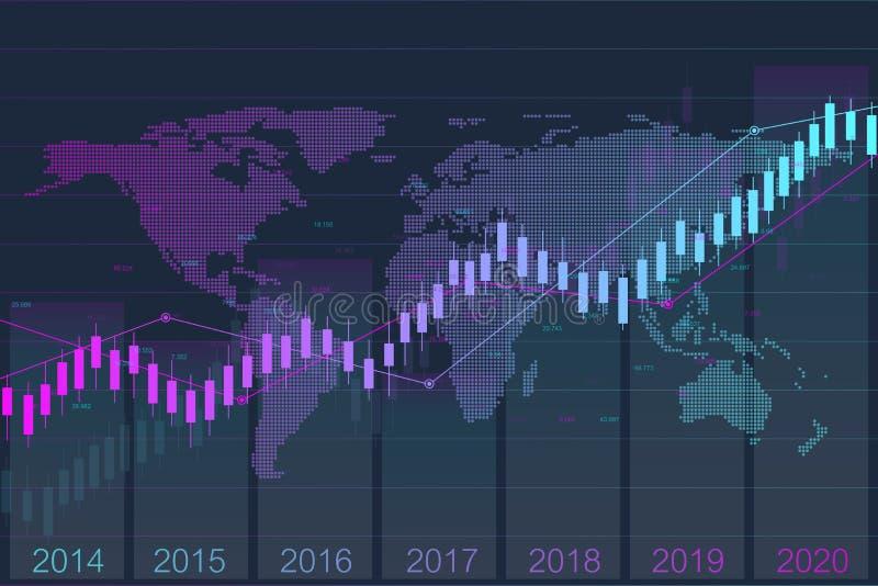 Geschäftskerzenhalter-Diagrammdiagramm der Börse-Investition, die mit Weltkarte handelt Börse und Austausch ablage stock abbildung
