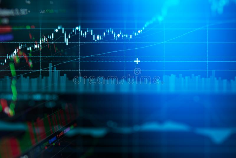 Geschäftskerzenständer-Diagrammdiagramm des Börse-Investitionshandels stockfotos