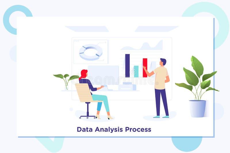 Geschäftskollegen, die Finanzzahlen auf Diagramme bearbeiten und analysieren stock abbildung