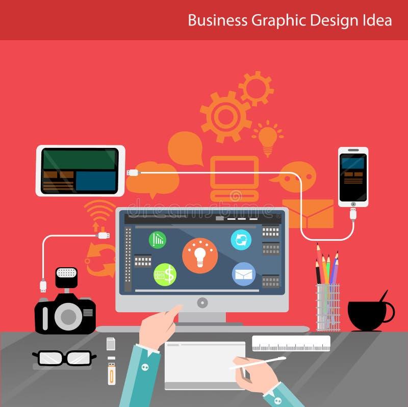 Geschäftskommunikations-Technologie mit der Leutehand, digitaler Tablette, Smartphone, Papieren und verschiedenem Büro wendet auf vektor abbildung