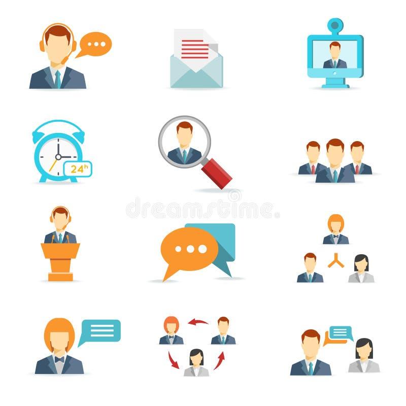 Geschäftskommunikations- und Netzkonferenzikonen lizenzfreie abbildung