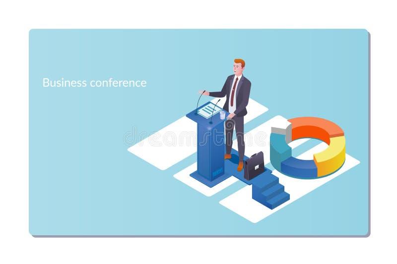 Geschäftskonferenz-Einladungskonzept Mann spricht, Darstellungsprojekt Geschäfts-Seminar-isometrische flache Art lizenzfreie abbildung