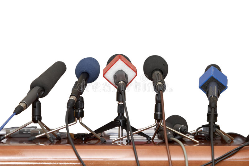Geschäftskonferenzmikrophone stockfotos