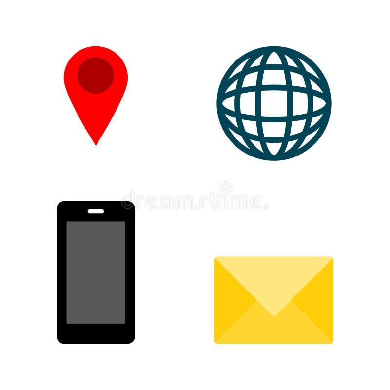 Geschäftskontaktdatenikone eingestellt für Website, Broschüre oder Namenkartenentwurf; Genauigkeit, Kugel, Smartphone und Post vektor abbildung