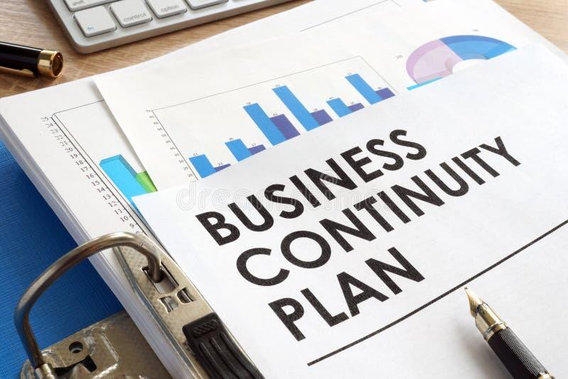 Geschäftskontinuitätsplan in einem Ordner stockfoto