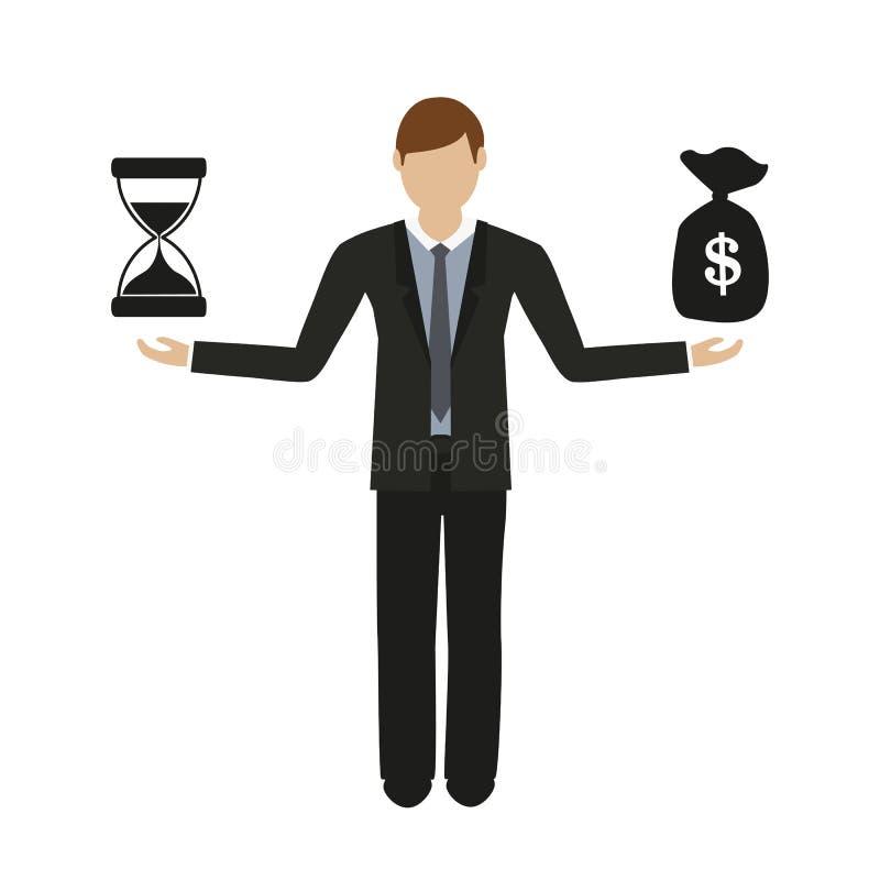Geschäftskonzept über Zeit und Bargeschäftmanncharakter lizenzfreie abbildung