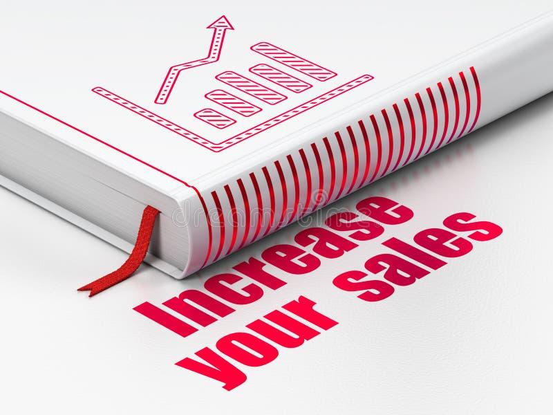 Geschäftskonzept: buchen Sie Wachstums-Diagramm, erhöhen Sie Ihre Verkäufe auf weißem Hintergrund lizenzfreie abbildung