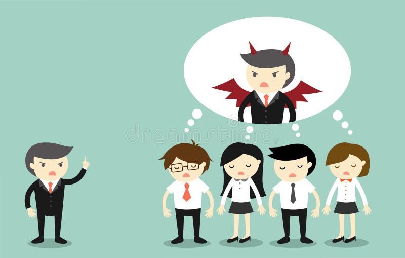 Geschäftskonzept, Chef beschweren sich Geschäftsleute und sie denken, dass Chef ein Teufel ist vektor abbildung