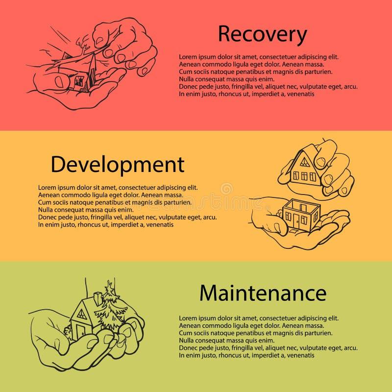 Geschäftskonzept der Wiederaufnahme, Entwicklung, Wartung Hände, die Haus anhalten Disaster Recovery-Konzept Vektor lizenzfreie abbildung
