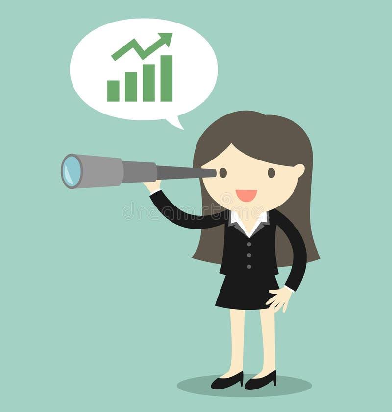 Geschäftskonzept, die Chef-/Geschäftsfrau, die sein Teleskop verwendet und sehen Gelegenheit über Geschäft lizenzfreie abbildung