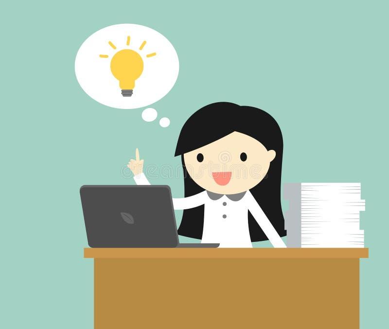 Geschäftskonzept, die Geschäftsfrau, die auf ihrem Schreibtisch sitzt und erhalten eine Idee stock abbildung
