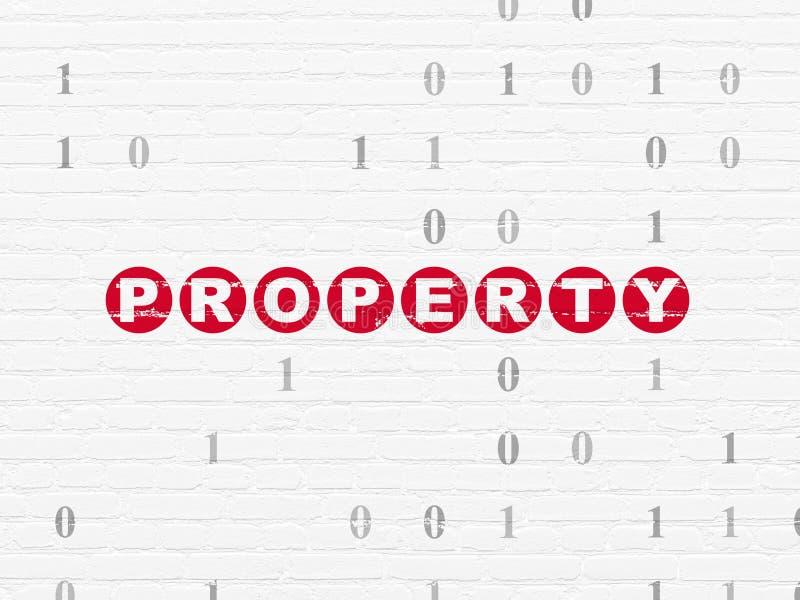 Geschäftskonzept: Eigentum auf Wandhintergrund lizenzfreie abbildung