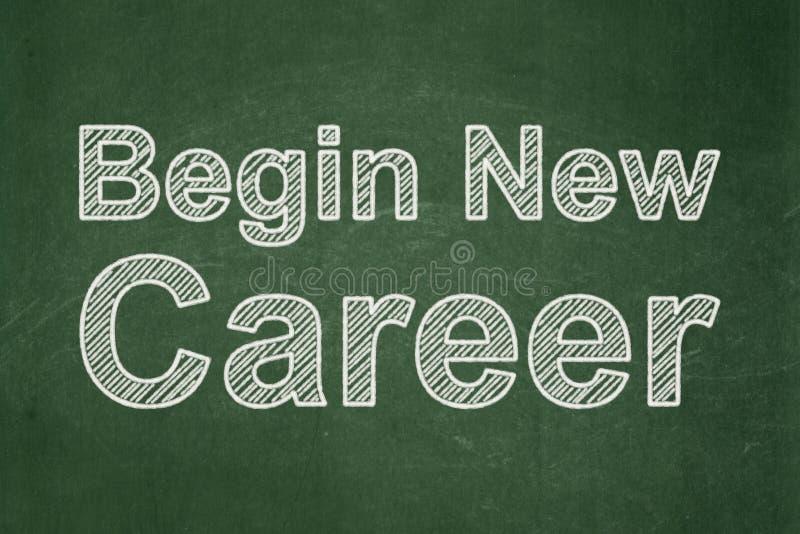 Geschäftskonzept: Fangen Sie neue Karriere auf Tafelhintergrund an stockbild