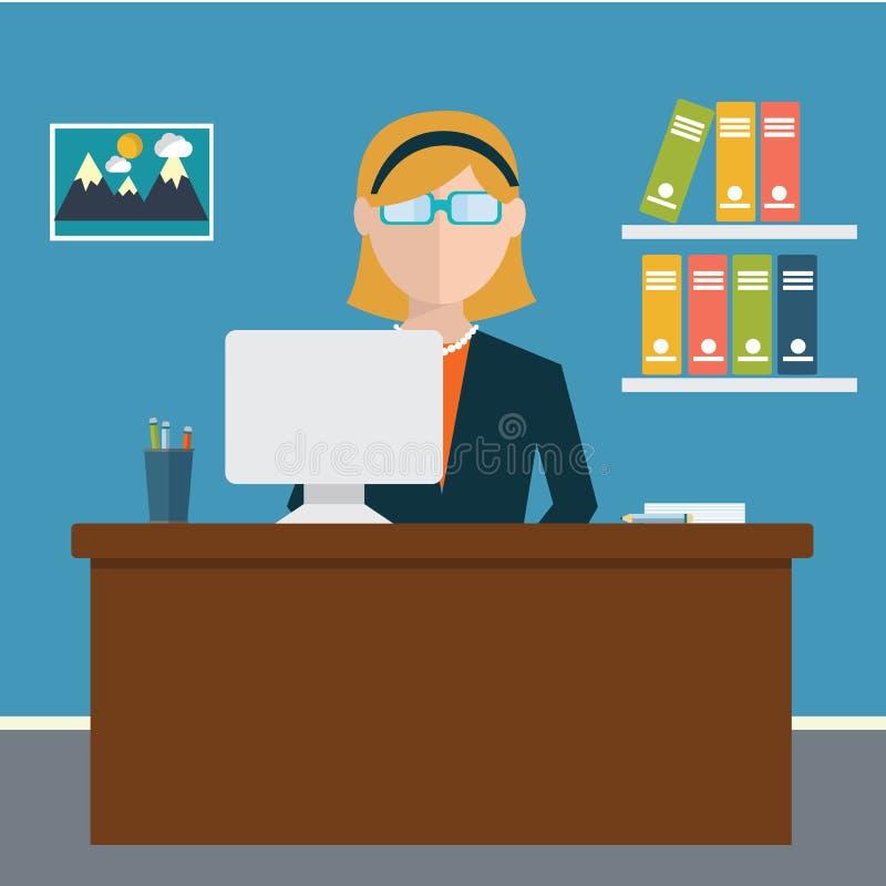 Geschäftskonzept - Frau, die am Tisch sitzt und an dem Computer im Büro arbeitet Vektorillustration, flache Art lizenzfreie abbildung