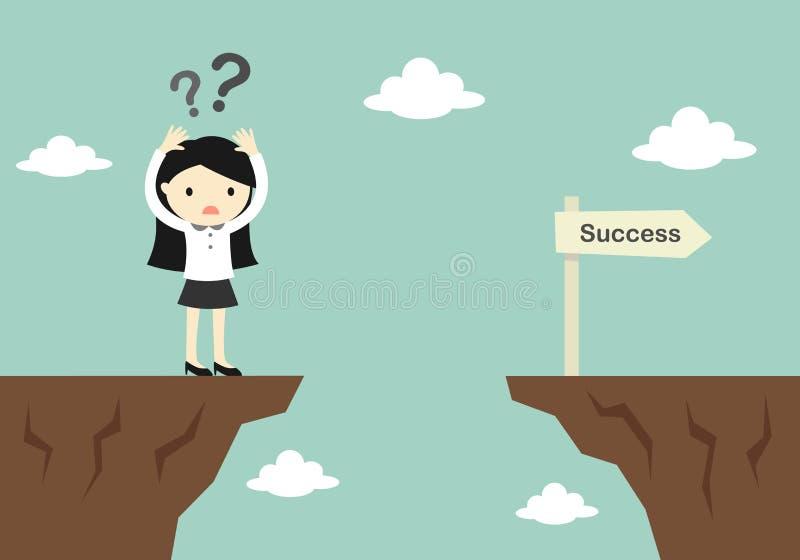 Geschäftskonzept, Geschäftsfrau ist über wie zu herüber zu einer anderen Klippe verwirrend stock abbildung