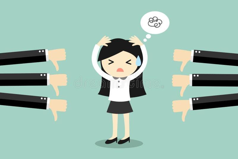 Geschäftskonzept, Geschäftsfrau werden Feedback schlecht vektor abbildung
