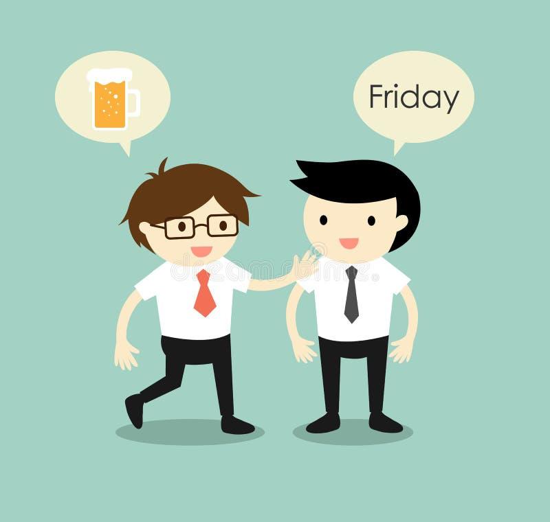 Geschäftskonzept, Geschäftsmänner, die zusammen zum Treffpunkt planen, nachdem sie Arbeit am Freitag beenden Auch im corel abgeho stock abbildung