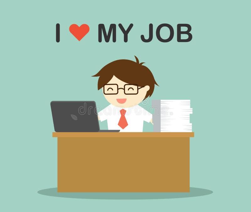 Geschäftskonzept, Geschäftsmann, der an seinem Schreibtisch mit Liebe der Benennung I meinen Job arbeitet vektor abbildung