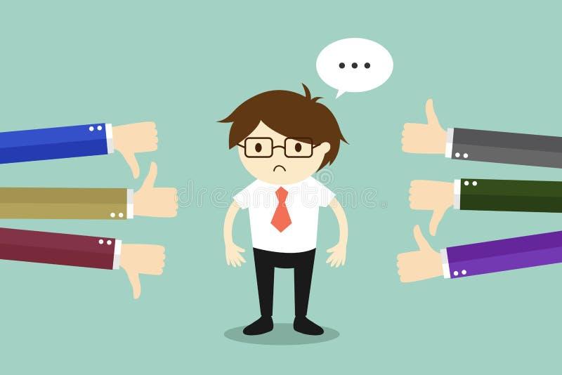 Geschäftskonzept, Geschäftsmann erhalten Feedback von anderen Leuten lizenzfreie abbildung