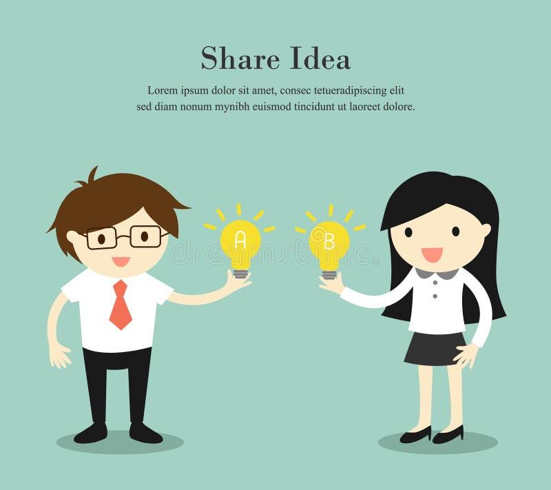 Geschäftskonzept, Geschäftsmann und Geschäftsfrau, die Idee teilt Auch im corel abgehobenen Betrag stock abbildung
