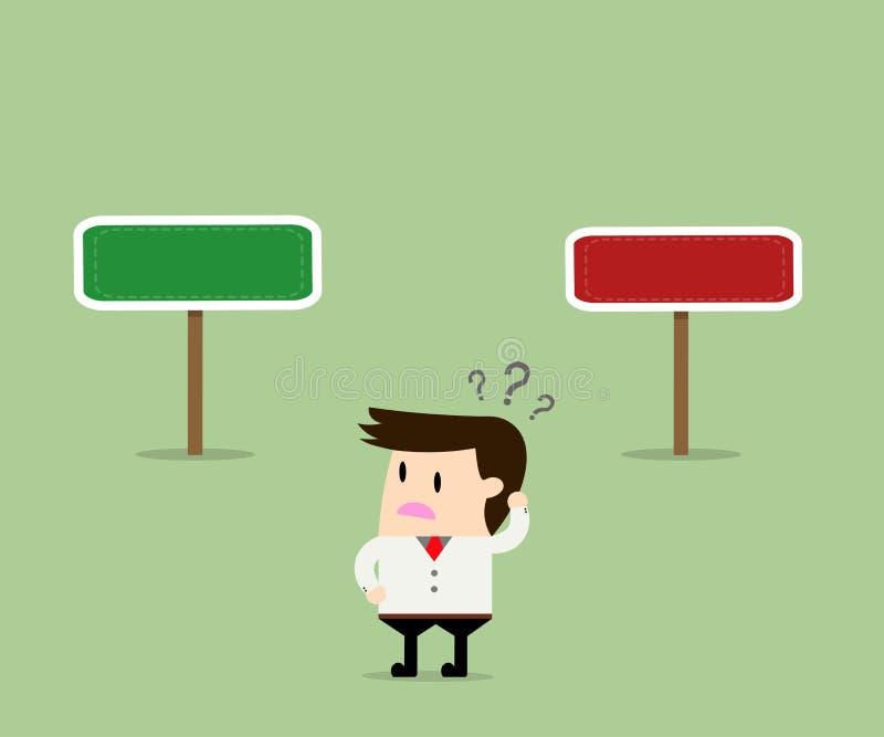 Geschäftskonzept, Geschäftsmann verwirrt über Richtung zwei stock abbildung