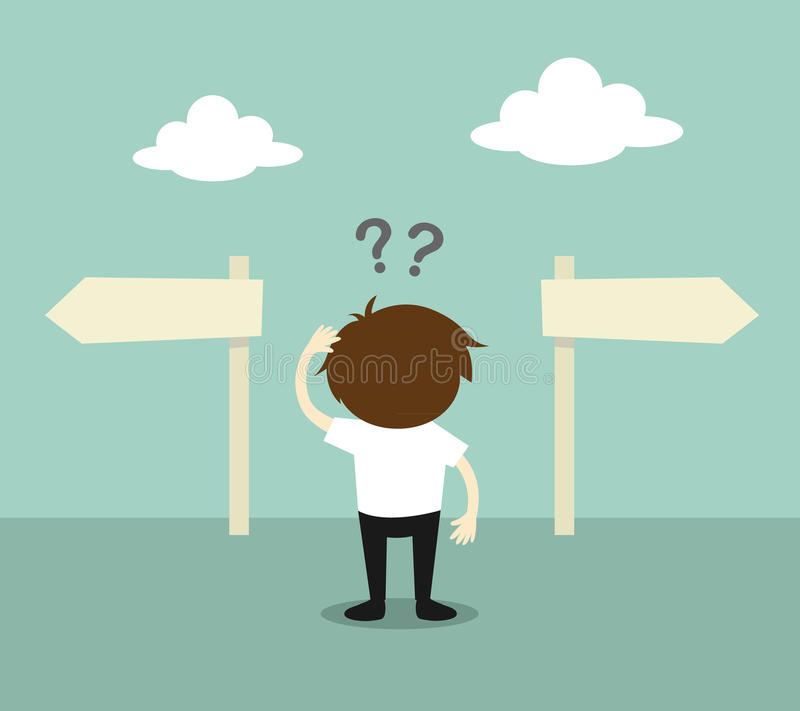 Geschäftskonzept, Geschäftsmann verwirrt über Richtung zwei Auch im corel abgehobenen Betrag lizenzfreie abbildung