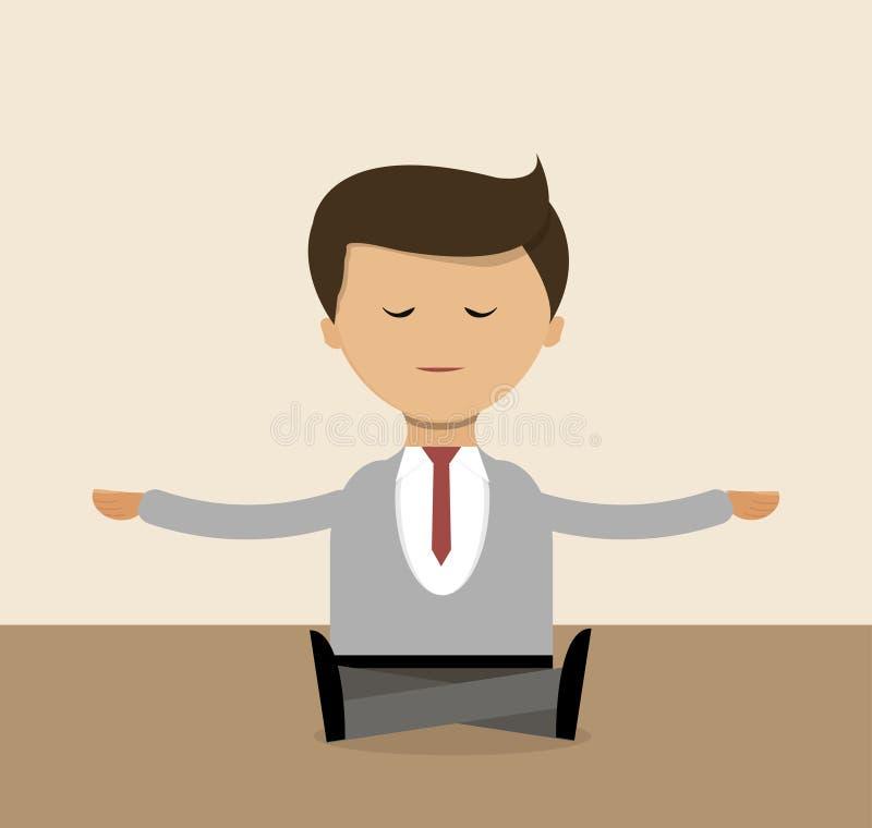 Geschäftskonzept im flachen Design Geschäftsmann, der Yogarecht im Büro, Meditation tut Vektor vektor abbildung