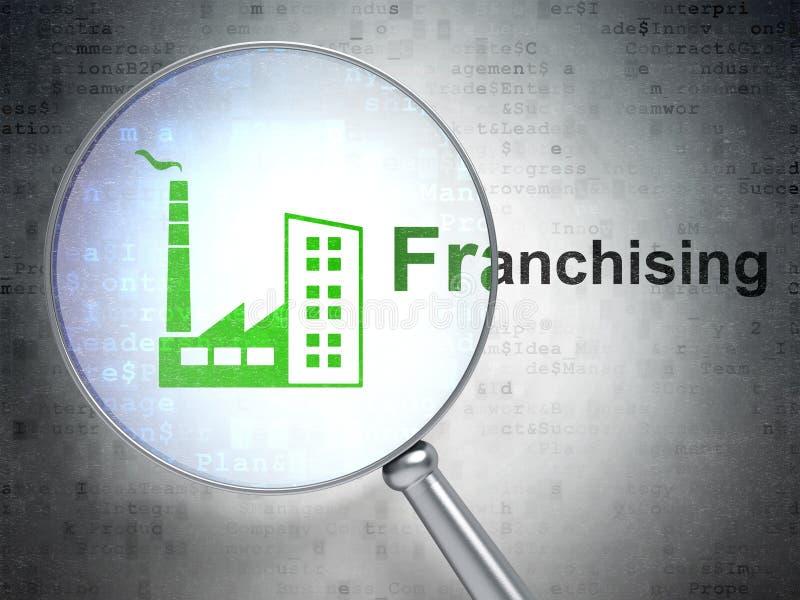 Geschäftskonzept: Industrie-Gebäude und Franchising mit optischem Glas vektor abbildung