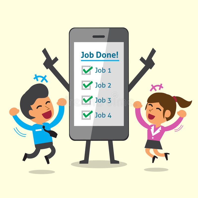 Geschäftskonzept-Karikatur Smartphone und Geschäftsteam schlossen ihre Jobs ab stock abbildung