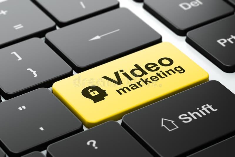 Geschäftskonzept: Kopf mit Vorhängeschloß und Video stock abbildung