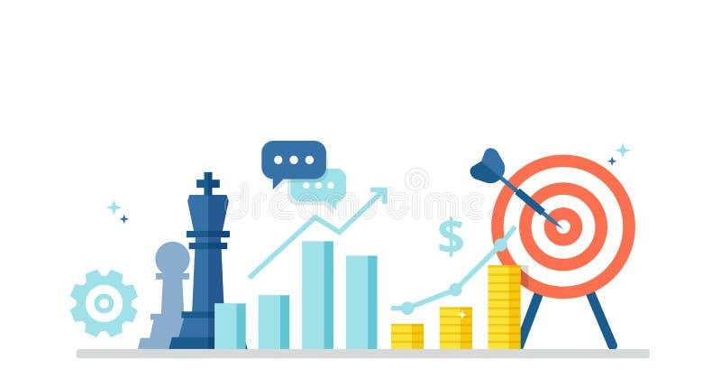 Geschäftskonzept mit Ikonen von Schachfiguren, von Zeitplan, von Gewinn und von Zweck Marketingstrategiefahne in der flachen Art  lizenzfreie abbildung