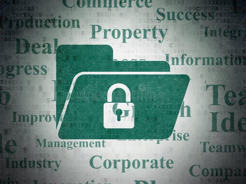 Geschäftskonzept: Ordner mit Verschluss auf Digital-Daten tapezieren Hintergrund lizenzfreie abbildung