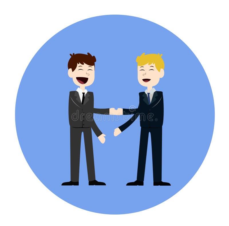 Geschäftskonzept-Vektorillustration in der flachen Karikaturart Geschäftsleute, die Hände rütteln Geschäftsmänner, die ein Abkomm vektor abbildung