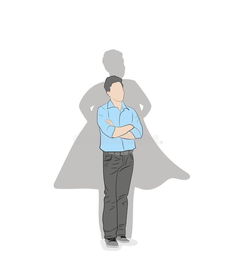 Geschäftskonzept-Vektorillustration eines Geschäftsmannes mit Superheldschatten stock abbildung