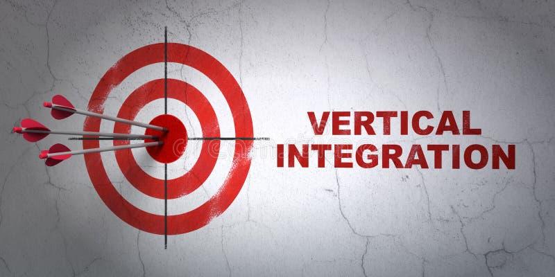 Geschäftskonzept: Ziel und vertikale Integration auf Wandhintergrund stock abbildung