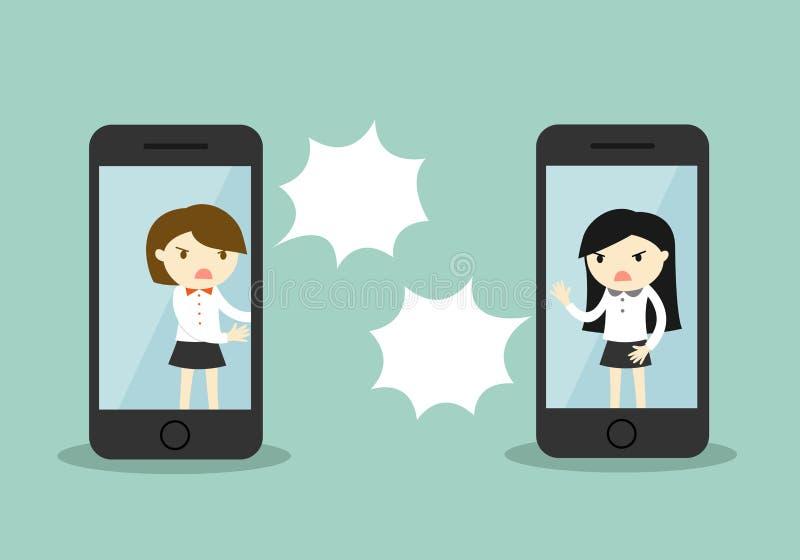 Geschäftskonzept, zwei Geschäftsfrau argumentieren über Smartphone stock abbildung