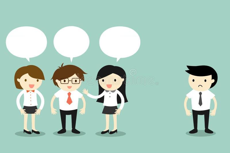 Geschäftskonzept, zwei Geschäftsfrauen, die mit Geschäftsmann, aber sprechen, ein anderer Geschäftsmann, der allein steht Auch im lizenzfreie abbildung