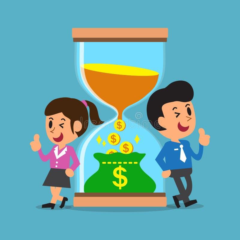 Geschäftskonzeptbekehrtzeit zum Geld mit Geschäftsleuten vektor abbildung