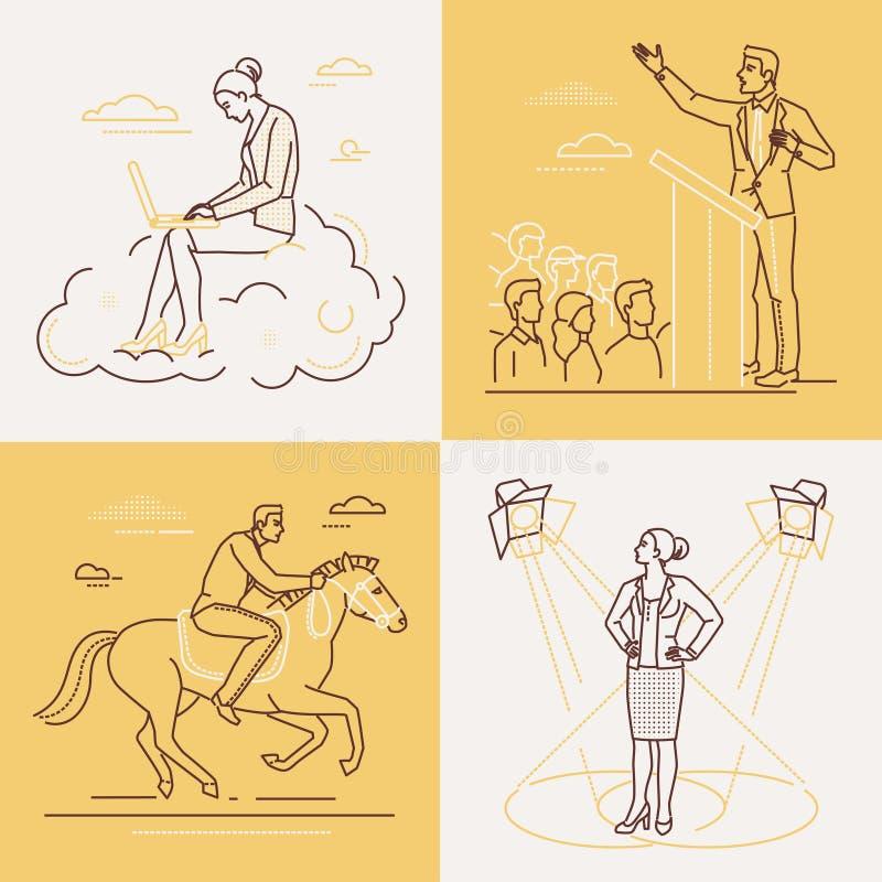 Geschäftskonzepte - Satz der Linie Designartillustrationen lizenzfreie abbildung