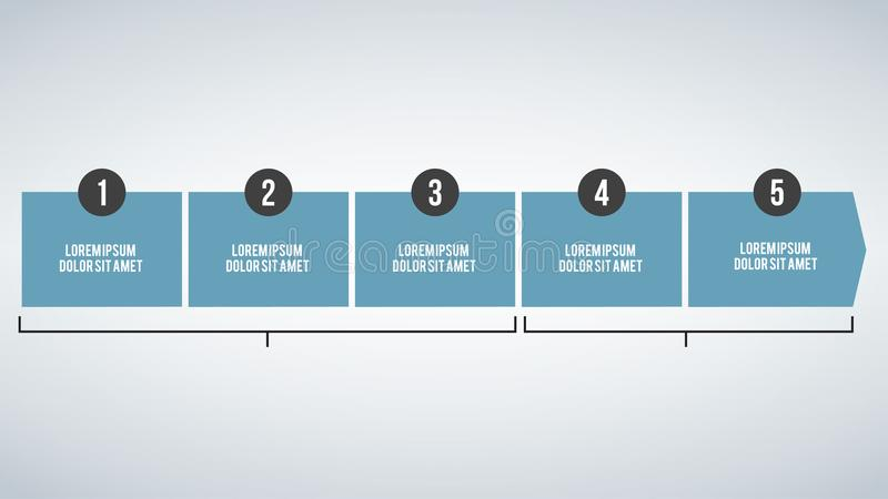 Geschäftskonzeptzeitachse Infograph-Schablone, 5 infographic Schritte, Vektorfahne kann für Arbeitsflussplan, Diagramm, Geschenk  vektor abbildung