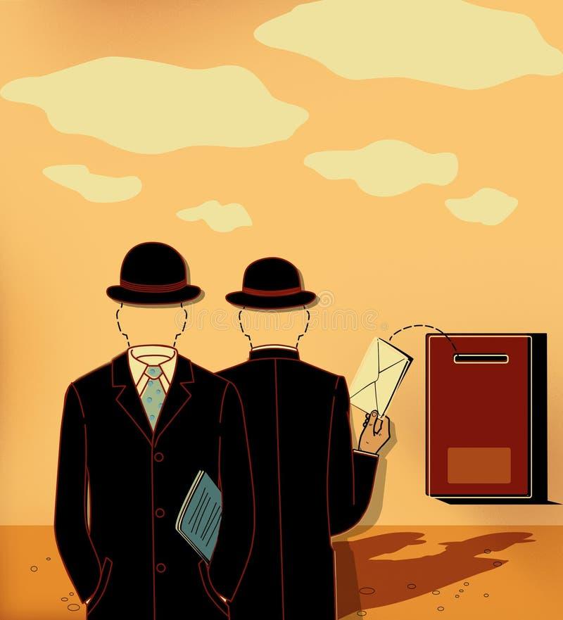 Geschäftskorrespondenz, zwei Schattenbilder von Männern in den Anzügen, Hüte und ohne Gesichter setzte den Umschlag in den Br vektor abbildung