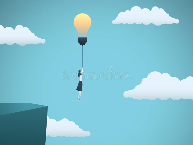 Geschäftskreativitäts-Vektorkonzept mit der Geschäftsfrau, die weg von einer Klippe mit Glühlampe fliegt Symbol der Innovation lizenzfreie abbildung