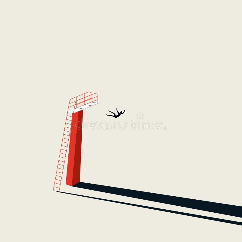 Gesch?ftskrise und Finanzrezessionsvektorkonzept mit dem Gesch?ftsmann, der f?llt, um zu reiben Unbedeutende Kunstart Symbol vektor abbildung