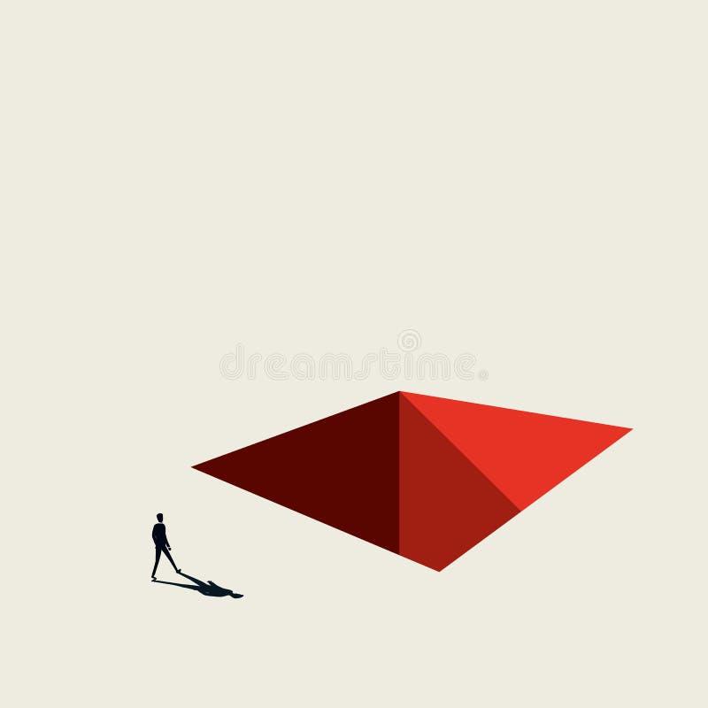 Geschäftskrise und Rezessionsvektorkonzept Geschäftsmann, der in Richtung zum Loch im Boden geht Unbedeutende Kunstart Symbol von lizenzfreie abbildung